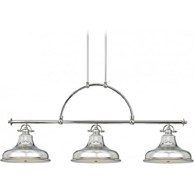 Kitchen Island Retro Bar Suspension Pendant With 3 Silver Chrome Lights