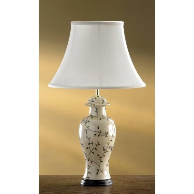 Oriental Pale Green Leaf Ceramic Temple Jar Table Lamp