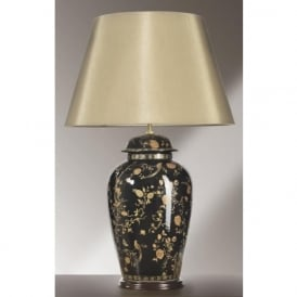 BLACK BIRDS temple jar black and gold table lamp (large)
