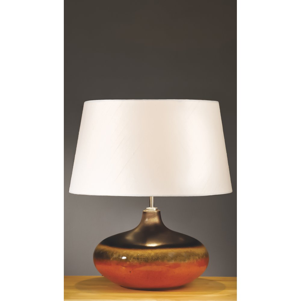Orange brown ceramic table lamp with shade included for Brown table lamp shades