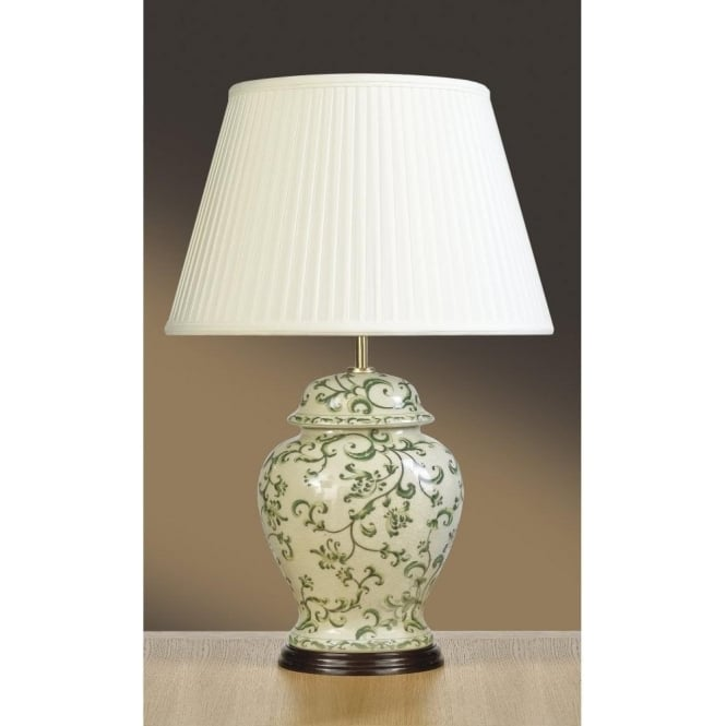 Traditional Green Leaves Ceramic Oriental Jar Table Lamp