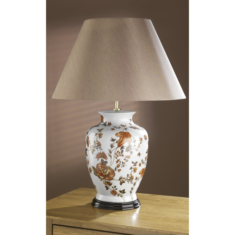 Traditional Oriental Porcelain Table Lamp With Orange