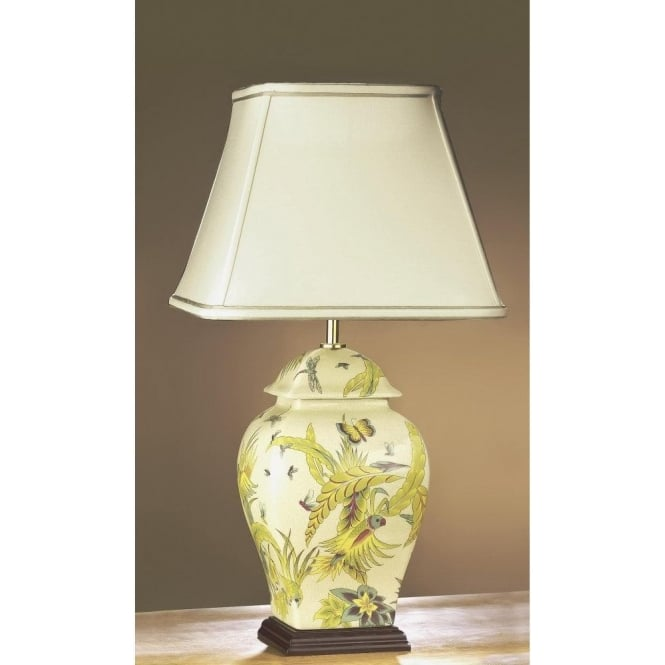 Ceramic Yellow Amp Green Floral Temple Jar Table Lamp With