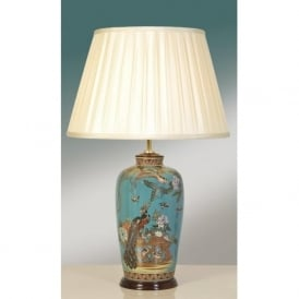 PEACOCK oriental turquoise patterned ceramic table lamp and shade