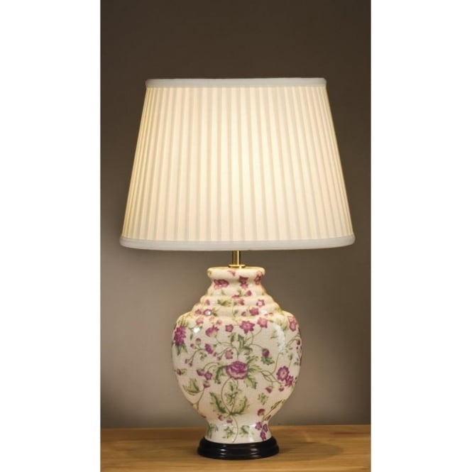 Cream ceramic table lamp base best inspiration for table lamp empire table lamp collection pink carnations ceramic base table lamp aloadofball Image collections