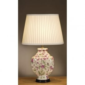 PINK CARNATIONS ceramic base table lamp with shade