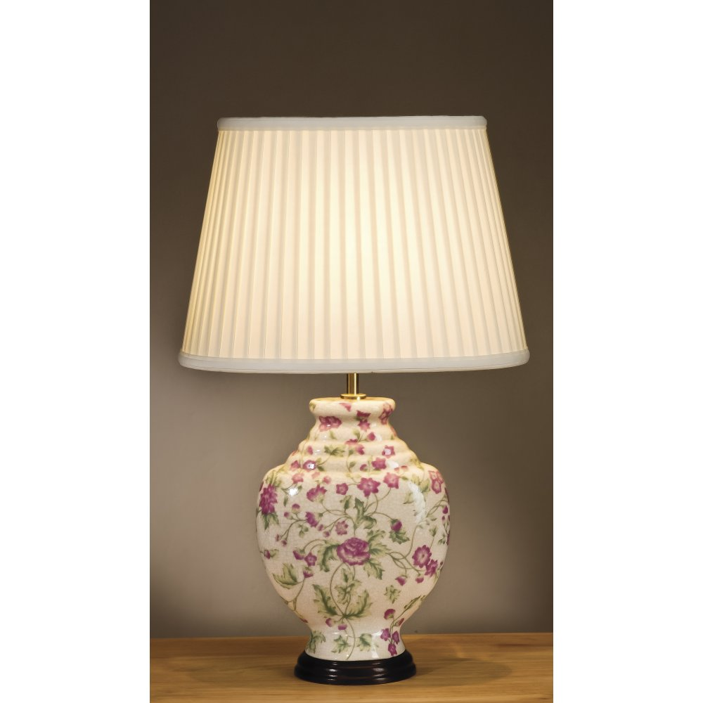 Pink Floral Cream Ceramic Oriental Table Lamp with Shade