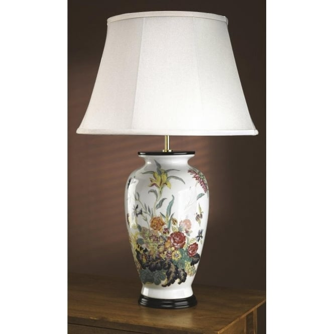 Traditional Oriental Ceramic Ginger Jar Table Lamp with Floral Pattern