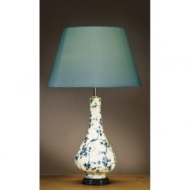 TEAL LEAVES traditional ceramic table lamp with teal flowers