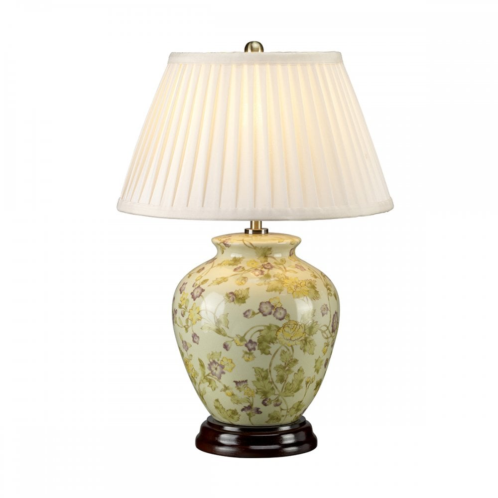 Chinese ceramic ginger jar table lamp with yellow and purple flowers yellow flowers chinese ceramic table lamp and shade aloadofball Images