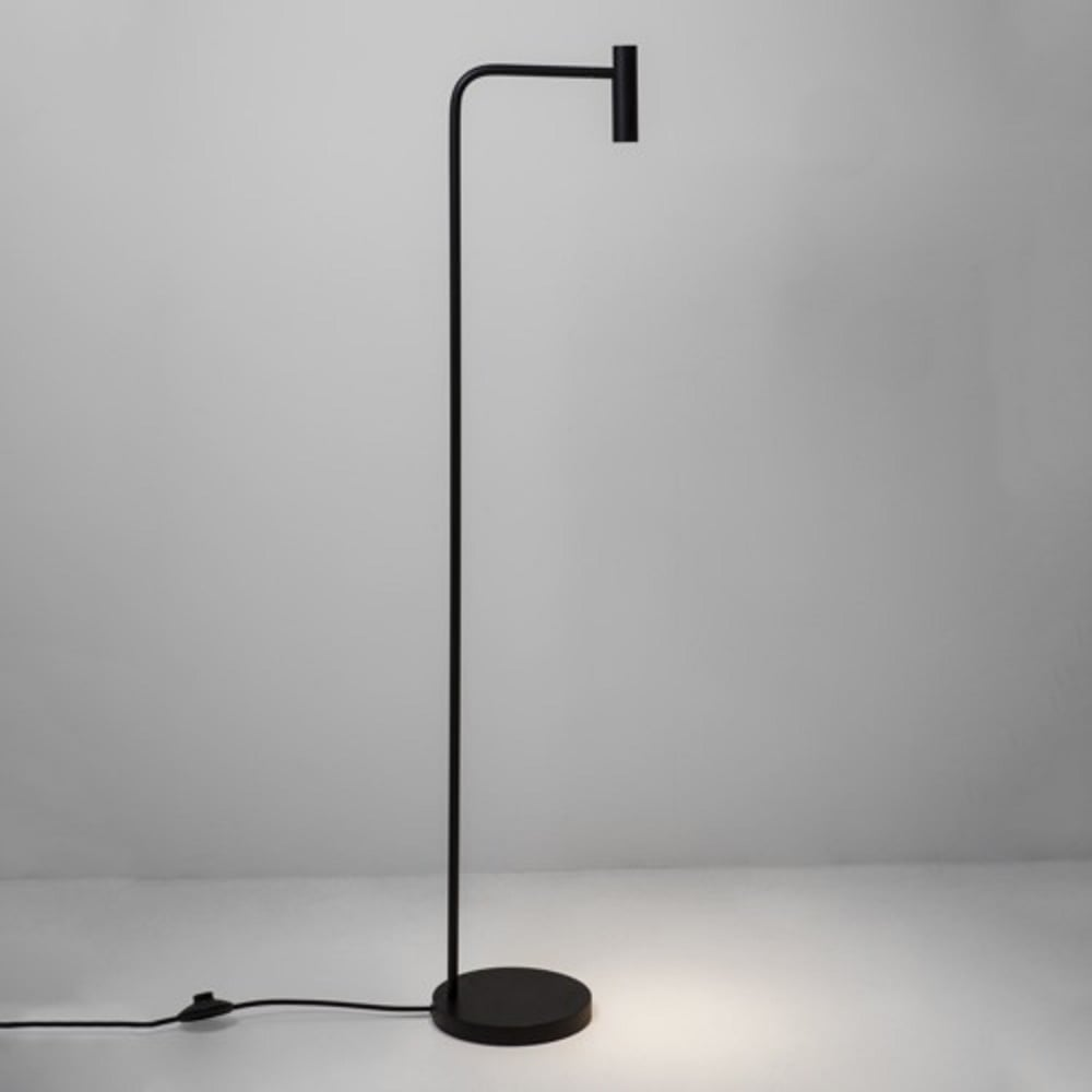 Minimalist Design Modern Black Floor Reading Lamp With Adjustable Shade