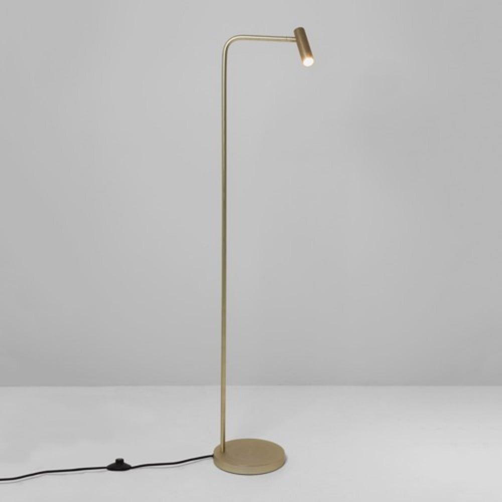 Adjustable Matt Gold Floor Reading Lamp In Modern Minimalist Styling