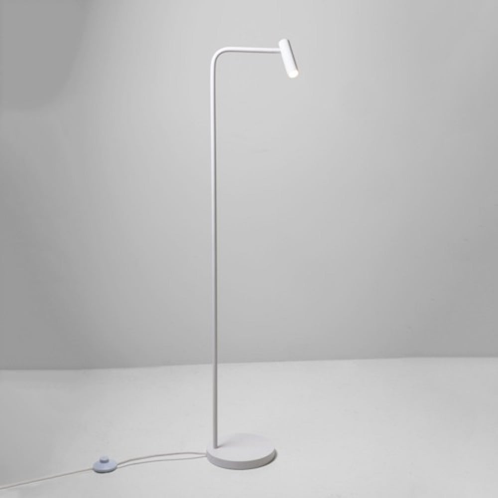 Modern Led White Floor Reading Lamp With Angled Adjustable Shade
