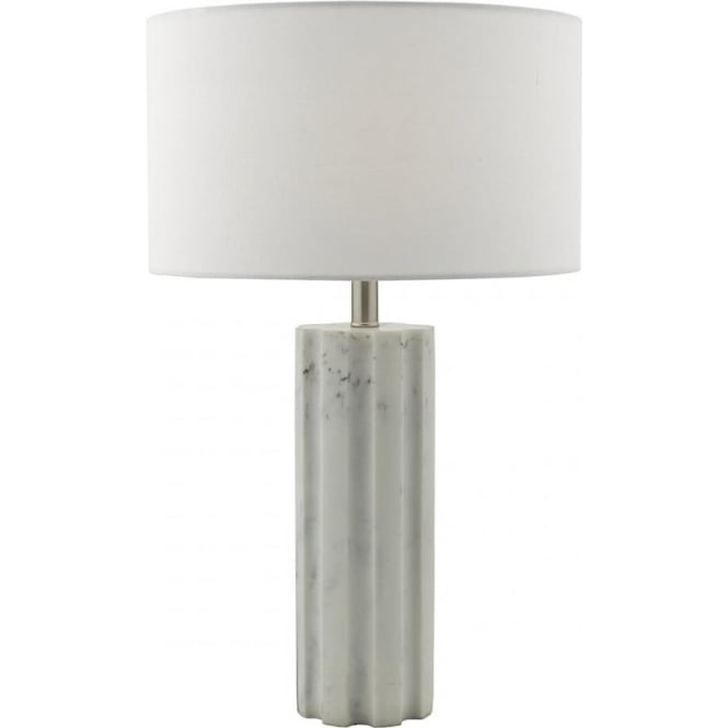 EREBUS pale grey marble effect table lamp with shade