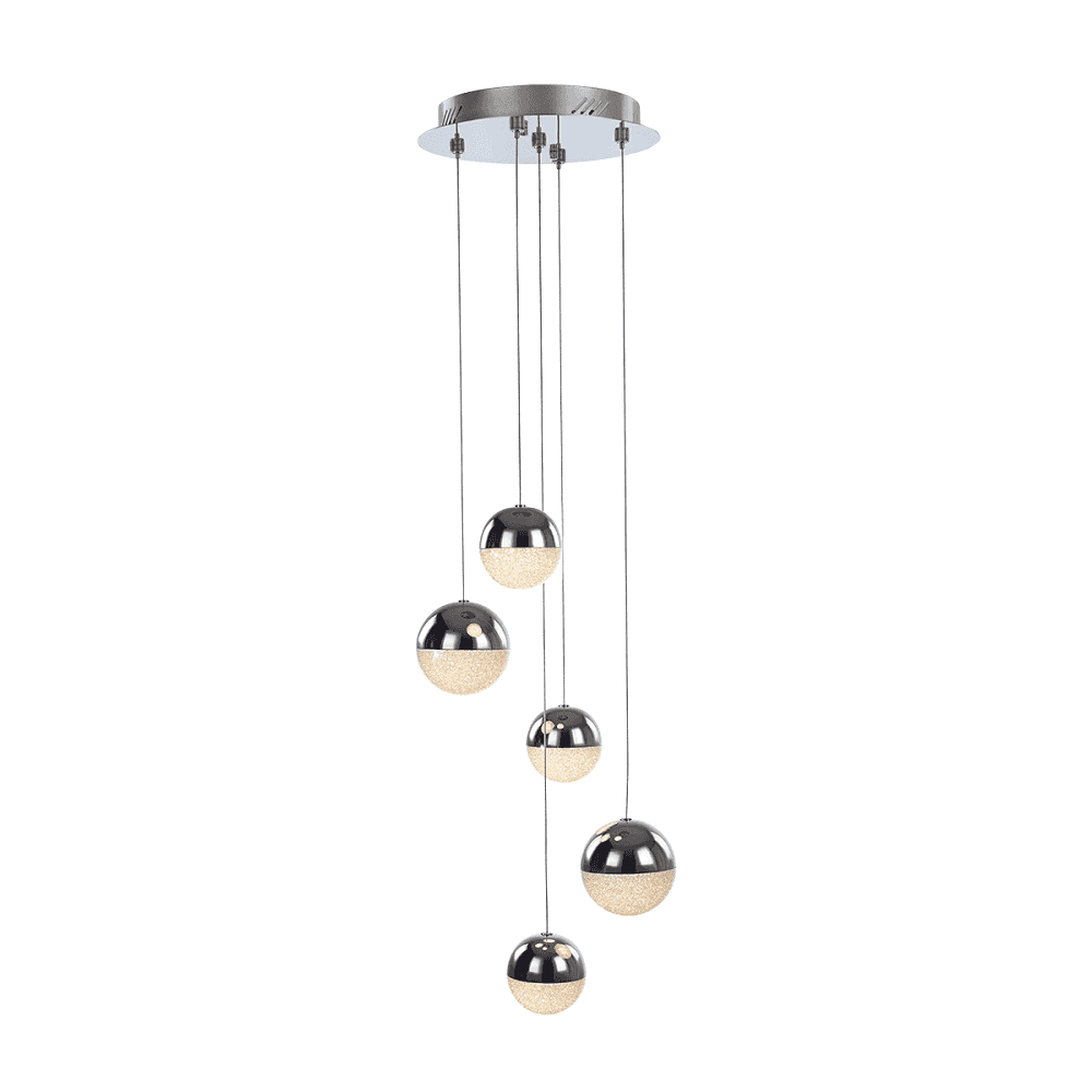 Modern Chrome 3 Light Swirl Ceiling Fitting w//Crystal Style Glass Shade Bedroom