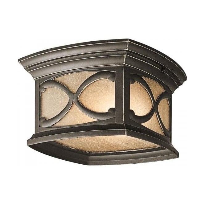 Tradional Gothic Style Flush Fitting Porch Ceiling Light Amber Glass