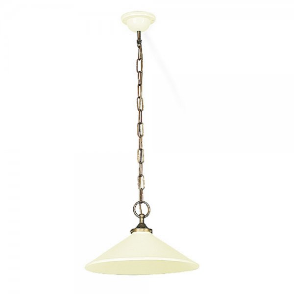French Made Cream Ceramic Ceiling Pendant Light On Long Chain