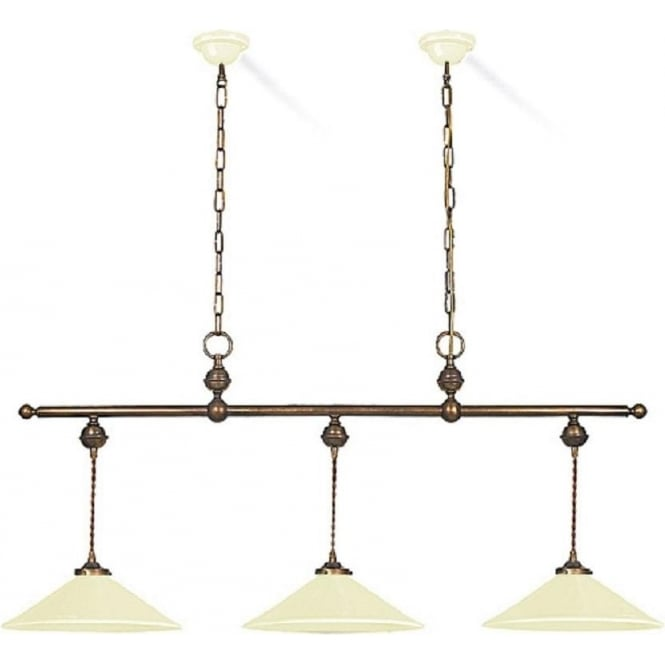 Soho Bar Pendant With 3 Opal White Glass Lights Supended: Glazed Ceramic Drop Down Ceiling Pendant Light With 3