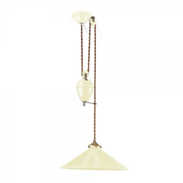 Industrial Rise And Fall Pendant Light: Ceramic Cream Rise And Fall Ceiling Pendant, Pull Down