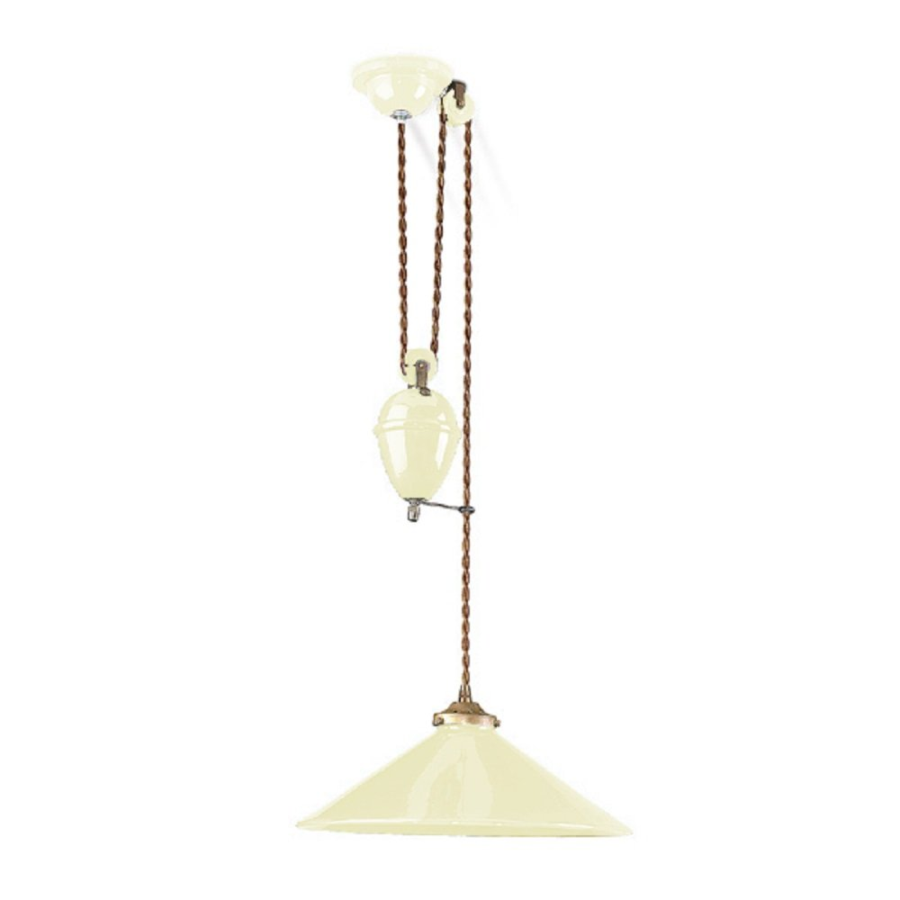 Ceramic Cream Rise And Fall Ceiling Pendant Pull Down Table Light