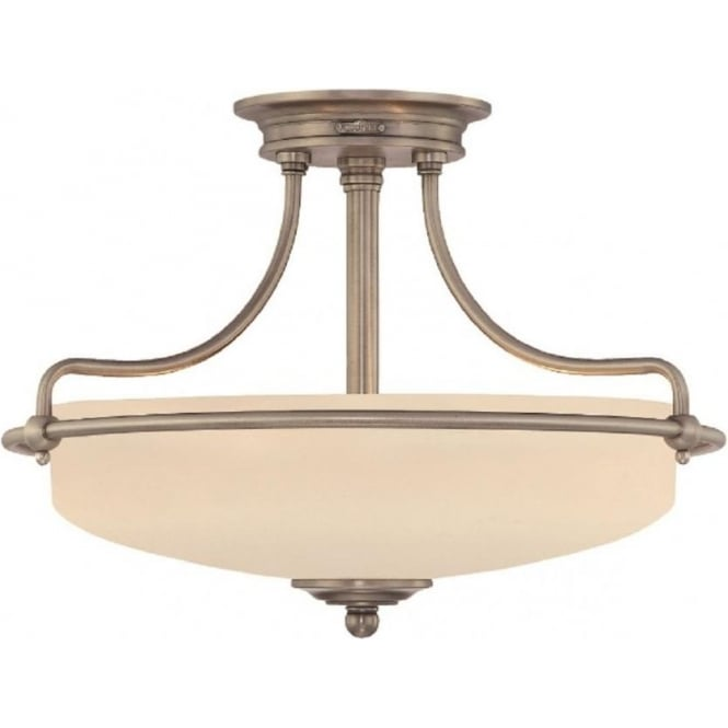 Griffin Art Deco Antique Nickel Semi Flush Uplighter Ceiling Light Small
