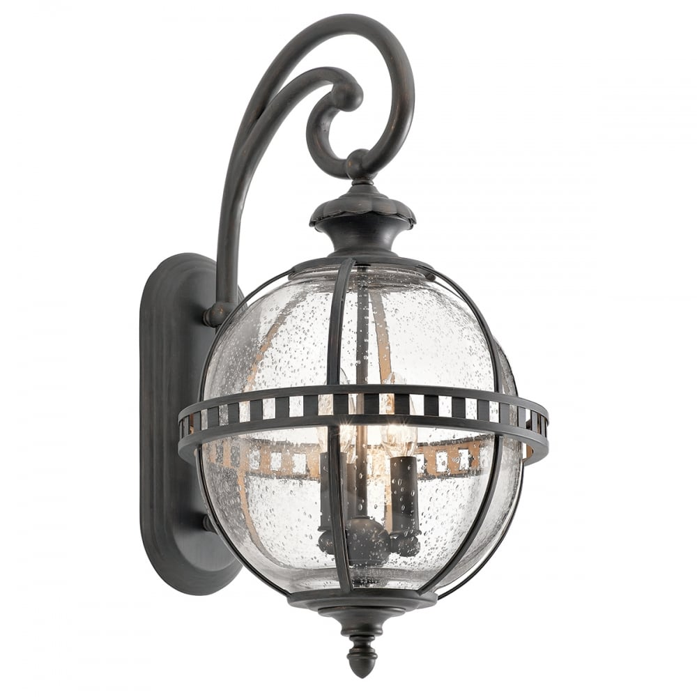 Victorian Style Outdoor Bronze Wall Lantern With Glass Globe Shade