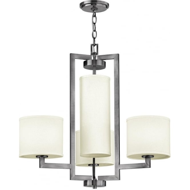 Large Art Deco Style Modern Chandelier In Nickel With Off White Shades