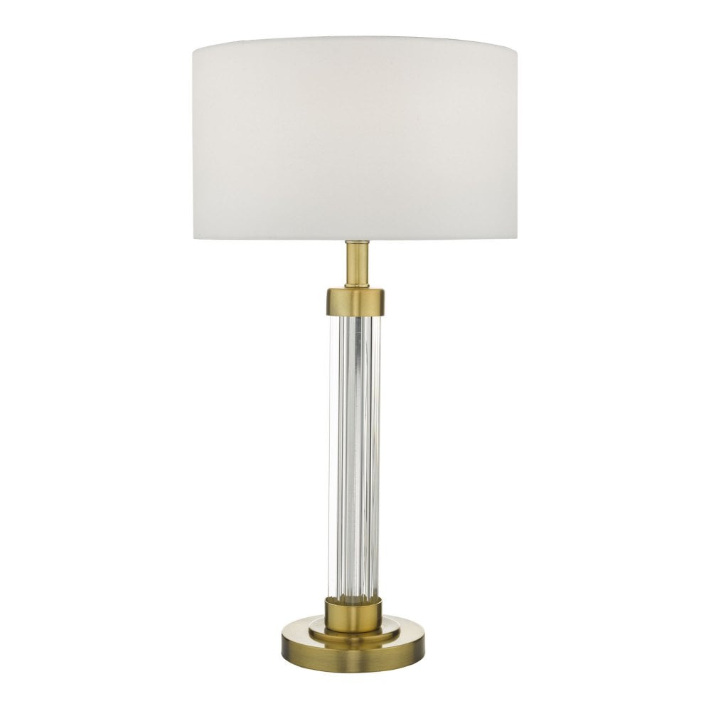 Traditional Neo Classic Style Table Lamp With Fluted Glass Column