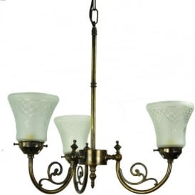 BAYSWATER Victorian 3 arm ceiling light with cut glass shades