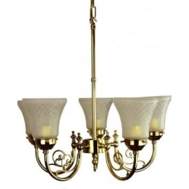 BAYSWATER Victorian 5 arm ceiling light with cut glass shades