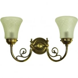 BAYSWATER Victorian style double wall light with cut glass shades