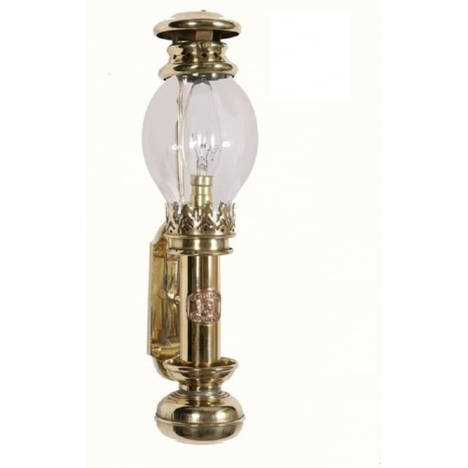 Replica Victorian Cabin Lamp Wall Light In Polished Brass