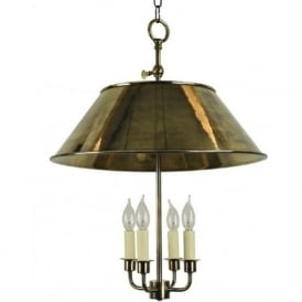 BROUGHTON rustic style solid brass ceiling pendant in distressed antique finish