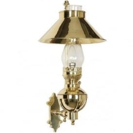 CAPTAIN'S WALL LIGHT polished brass replica oil lamp wall light
