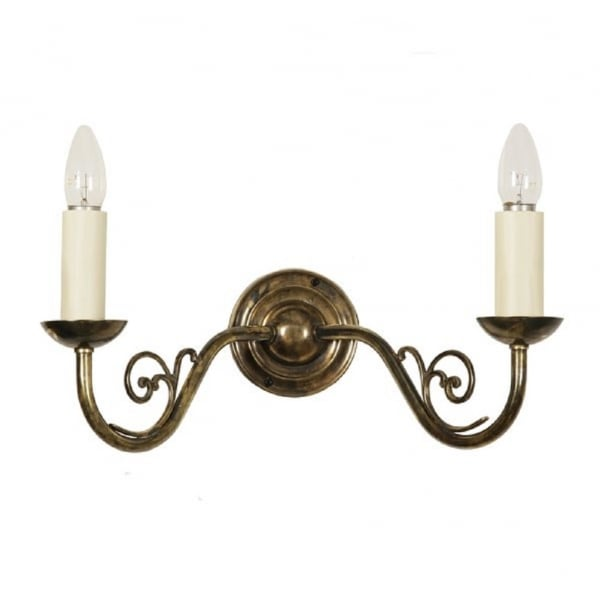 Traditional Double Wall Light, Candle Style with White Candle Sleeves