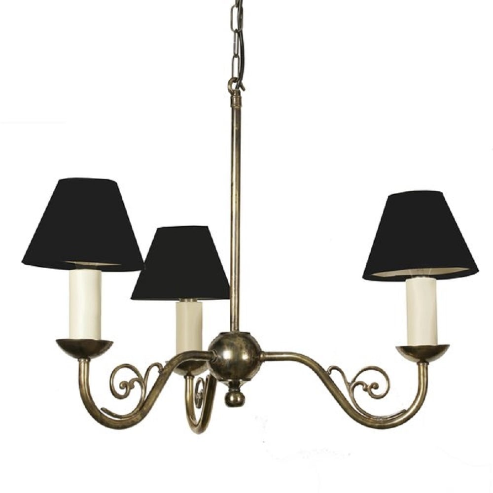 3 Light Cottage Chandelier In Solid Aged Brass With Black