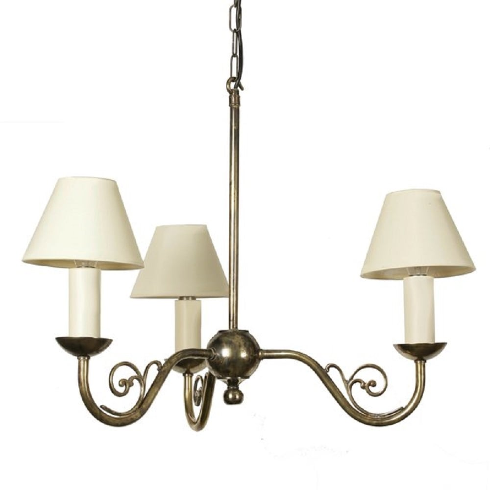Black Victorian Style Pillar Light: Solid Aged Brass 3 Light Ceiling Fitting In Traditional