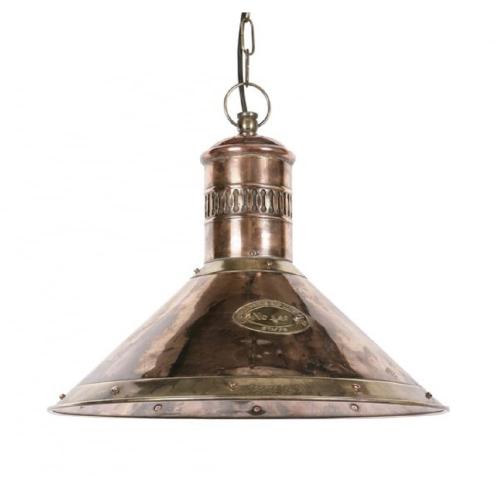 Nautical ships deck lamp in copper with brass detailing for Small kitchen pendant lights