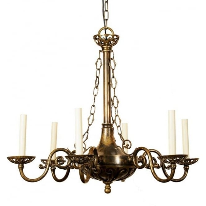 Victorian or edwardian period hanging chadelier with 6 candle lights empire edwardian antique brass chandelier with 6 candle lights mozeypictures Gallery