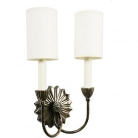 E'TOILE traditional double wall sconce with ivory shades