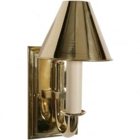 ETON single period wall light in polished brass gold finish