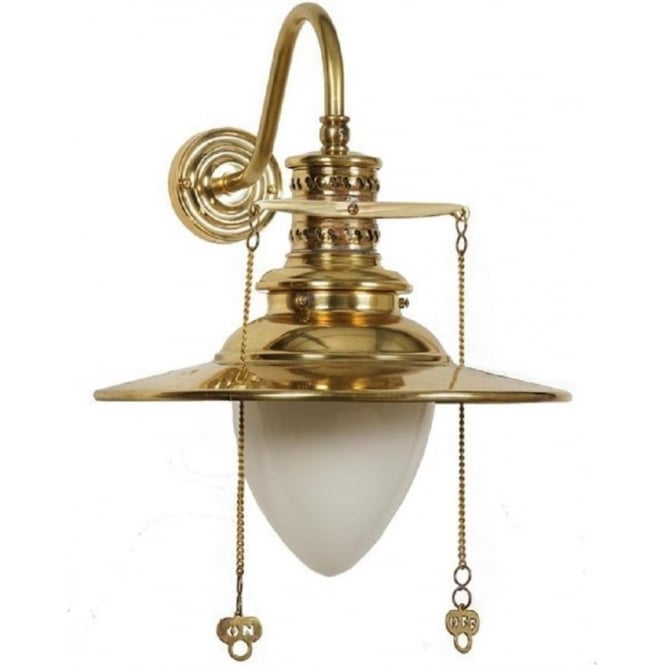 Euston Traditional Railway Lamp Wall Light, Polished Gold Finish