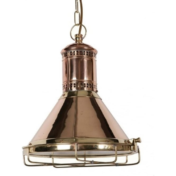 Reproduction Copper Cargo Ship Ceiling Pendant Light