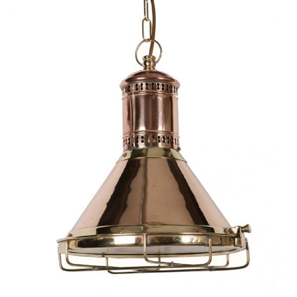 Nautical Decor Pendant Lighting: Reproduction Copper Cargo Ship Ceiling Pendant Light