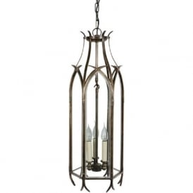 GOTHIC large Medieval hanging lantern in an antique finish