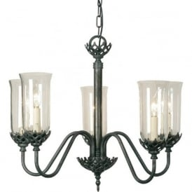 GOTHIC traditional 5 arm ceiling pendant light with storm glass shades
