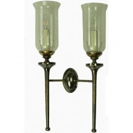 GROSVENOR twin antique brass wall sconce with storm glass shades