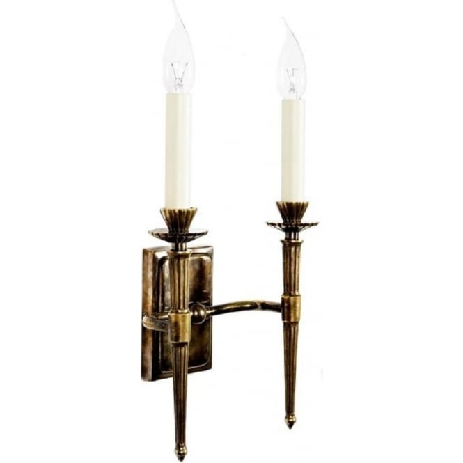Double Candle Wall Lights : Hampton Wall Sconce in Solid Brass Quality Reproduction Candle Style