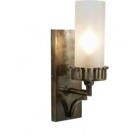 HIGHLANDER traditional distressed antique wall light with glass shade