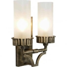 HIGHLANDER traditional twin wall light in distressed antique finish with glass shades
